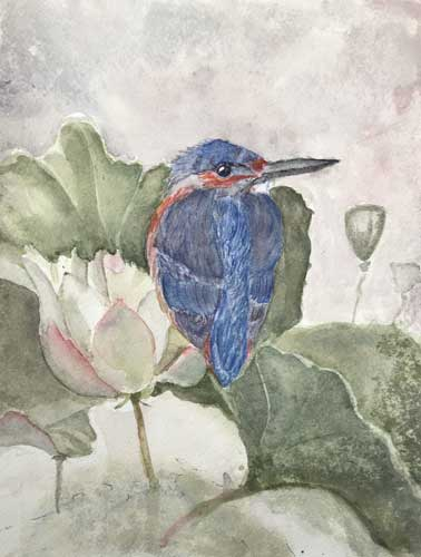 Kingfisher on Flower