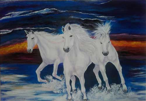 White Horses Spooked